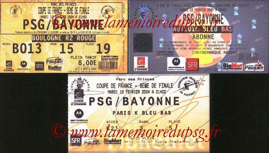 Tickets  PSG-Bayonne  2003-04