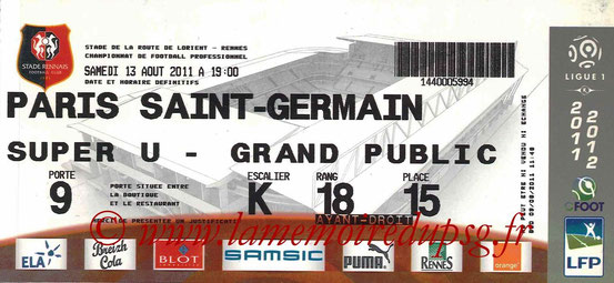 Ticket  Rennes-PSG  2011-12