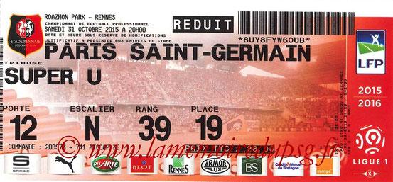Ticket  Rennes-PSG  2015-16