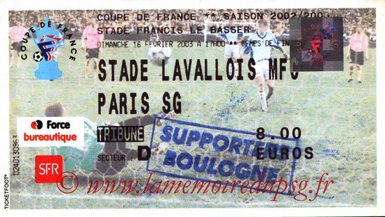 Ticket  Laval-PSG  2002-03
