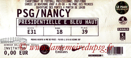 Ticket  PSG-Nancy  2007-08