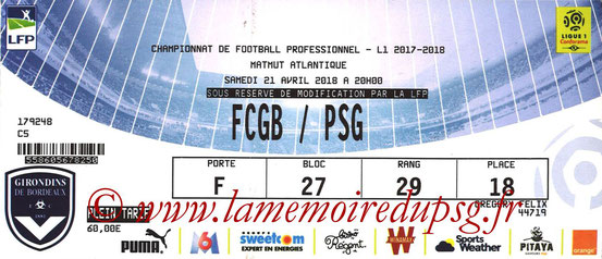 Ticket  Bordeaux-PSG  2017-18