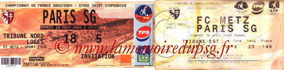 Ticket  Metz-PSG  2003-04
