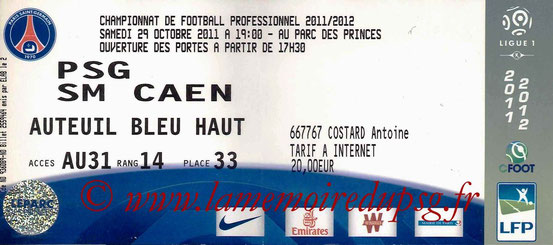 Ticket  PSG-Caen  2011-12