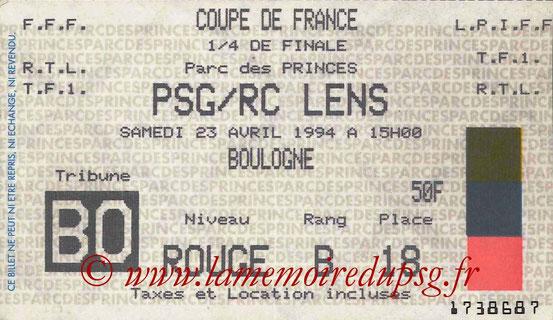 Ticket  PSG-Lens  1993-94