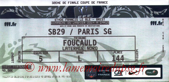 Ticket  Brest-PSG  2013-14