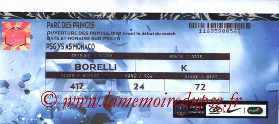 Ticket  PSG-Monaco  2014-15