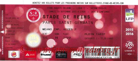 Ticket  Reims-PSG  2015-16