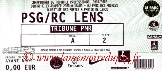 Ticket  PSG-Lens  2007-08