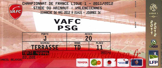 Ticket  Valenciennes-PSG  2011-12