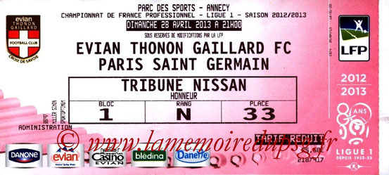 Ticket  Evian-PSG  2012-13