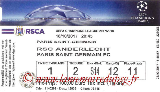 Ticket  Anderlecht-PSG  2017-18