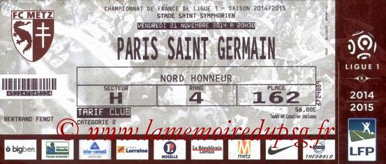 Ticket  Metz-PSG  2014-15