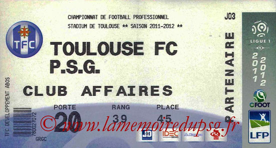 Ticket  Toulouse-PSG  2011-12