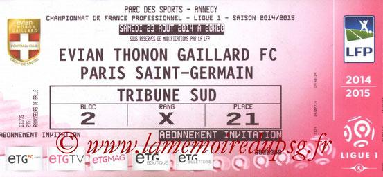 Ticket  Evian-PSG  2014-15