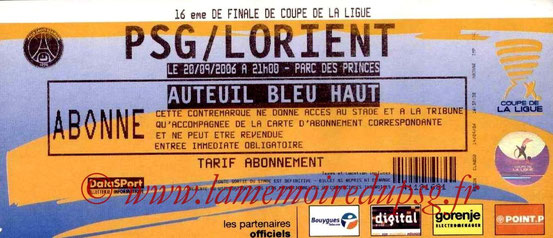 Ticket  PSG-Lorient  2006-07