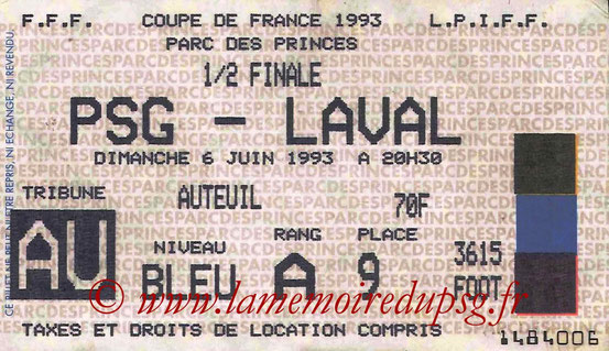 Ticket  PSG-Laval  1992-93