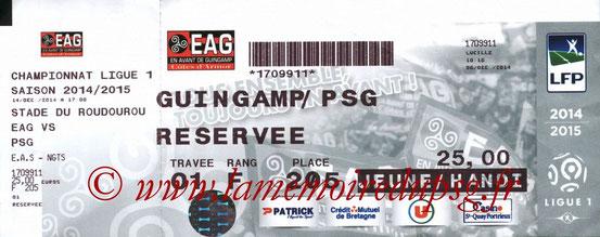 Ticket  Guingamp-PSG  2014-15