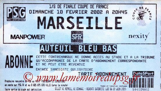 Ticket  PSG-Marseille  2001-02