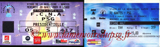 Tickets  Nantes-PSG  2003-04