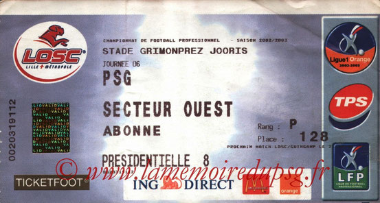 Ticket  Lille-PSG  2002-03