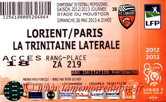 Ticket  Lorient-PSG  2012-13