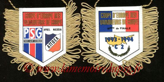 Fanion PSG-Apoel Nicosie  1993-94