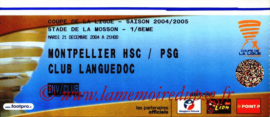 Ticket  Montpellier-PSG  2004-05
