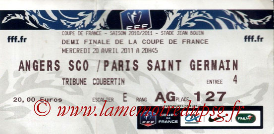 Ticket  Angers-PSG  2010-11