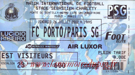 Ticket  PSG-Porto  2002-03