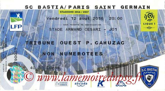Ticket  Bastia-PSG  2016-17