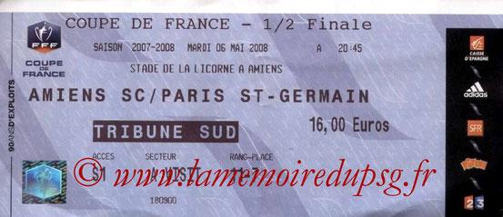 Ticket  Amiens-PSG  2007-08