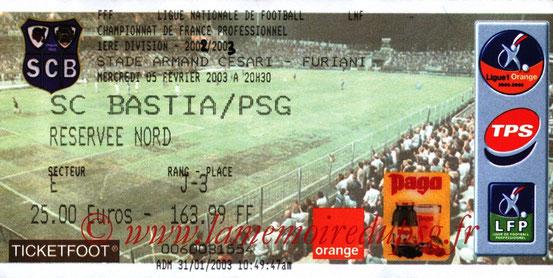Ticket  Bastia-PSG  2002-03