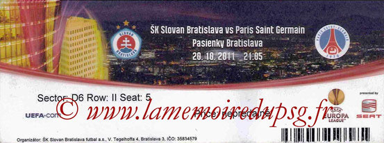 Ticket  Slovan Bratislava-PSG  2011-12