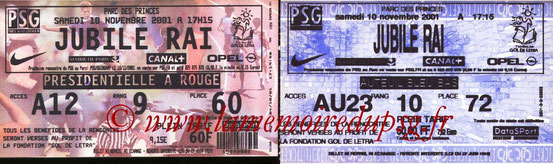 Tickets  Jubilé RAI  2001-02