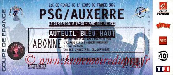 Ticket  PSG-Auxerre  2005-06