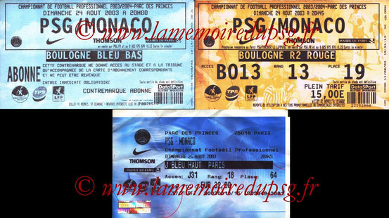 Tickets  PSG-Monaco  2003-04