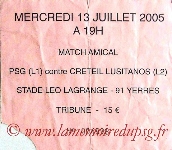 Ticket  PSG-Créteil Lusitanos  2005-06