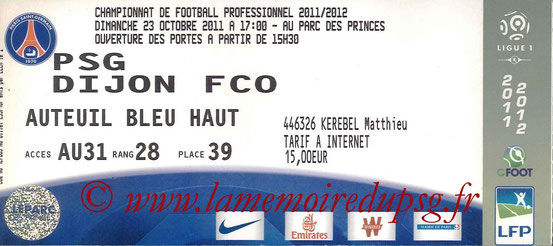 Ticket  PSG-Dijon  2011-12