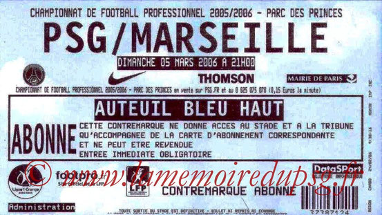 Ticket  PSG-Marseille  2005-06