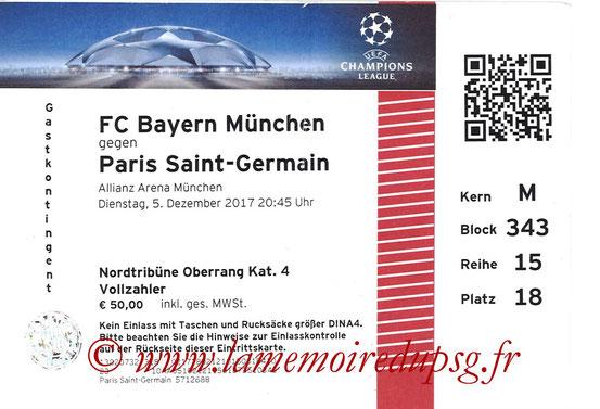 Ticket  Bayern-PSG  2017-18