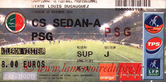 Ticket  Sedan-PSG  2002-03