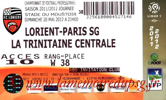 Ticket  Lorient-PSG  2011-12