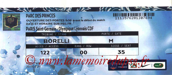 Ticket  PSG-Lyon  2015-16