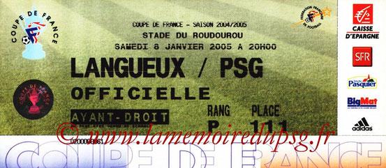 Ticket  Langueux-PSG  2004-05