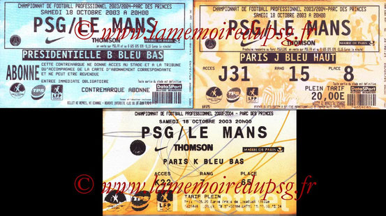 Tickets  PSG-Le Mans  2003-04