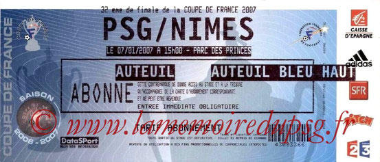 Ticket  PSG-Nîmes  2006-07