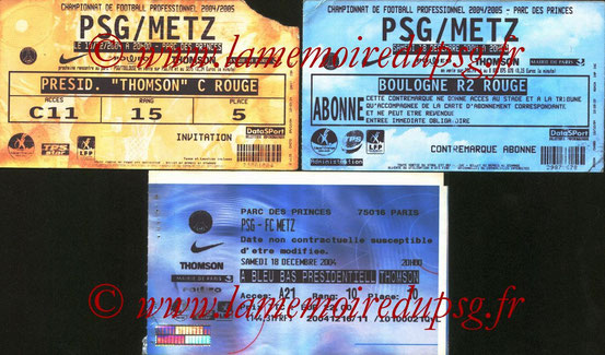 Tickets  PSG-Metz  2004-05