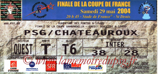 Ticket  PSG-Chateauroux  2003-04