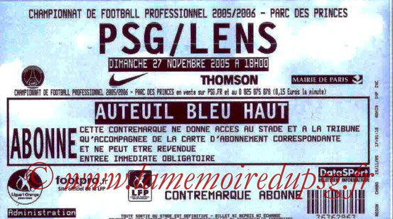 Ticket  PSG-Lens  2005-06